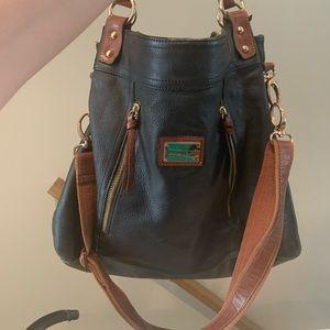 Cynthia Rowley purse black and tan leather